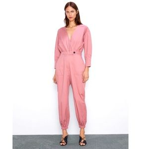 ZARA Poplin Dusty Rose Utility Long Jumpsuit NWT